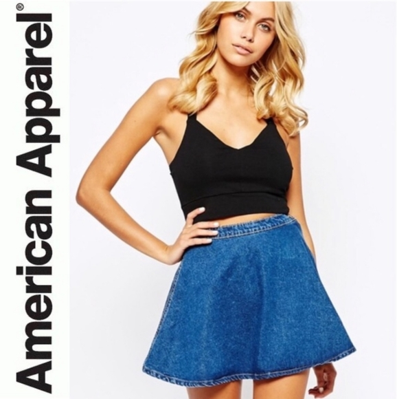 AMERICAN APPAREL Denim Jean Flare Skater Skirt